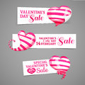 Set design of horizontal banners emblems badges with the decor of pink striped d hearts good for valentine s day discounts offers Royalty Free Stock Photos