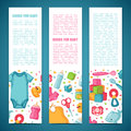 Set of design templates for vertical banners with childhood`s patterns. Newborn staff for decorating flyers. Clothes