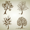 Set of designs with tree from leafs. Thanksgiving Royalty Free Stock Photography