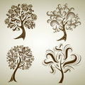 Set of designs with tree from leafs. Thanksgiving Royalty Free Stock Photo