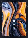 Set of desing poster. Dark blue and orange vibrant abstract marbled texture. Acrylic paint flow creative contemporary