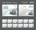 Set Desk Calendar 2018 template design, blue cover