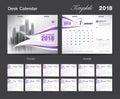 Set Desk Calendar 2018 template design, Purple cover