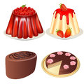 Set dessert jelly and strawberries cake Royalty Free Stock Photo