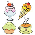 Set desserts and coffee vector illustration of four items Royalty Free Stock Photo