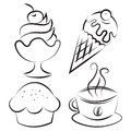 Set desserts and coffee vector illustration of four items Royalty Free Stock Image
