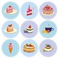 Set of desserts Sweets, pastry, chocolate, cake, cupcake, ice cream.