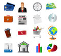 Set of detailed business icons and logo illustration Stock Photo