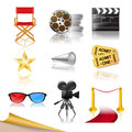 Set of detailed cinema icons Royalty Free Stock Photography