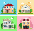 Set of detailed colorful cottage houses. Flat style modern buildings. Royalty Free Stock Photo