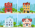 Set of detailed colorful modern cottage houses with trees and city background. Graphic buildings. Vector illustration.