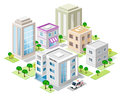 Set of detailed isometric city buildings. 3d vector isometric city