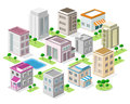 Set of detailed isometric city buildings. 3d vector isometric city Royalty Free Stock Photo