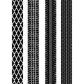 Set of detailed tire prints. Modern tire tread. Tire mark black. Vector illustration