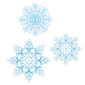 Set of detailed vector snowflakes illustration Stock Photo