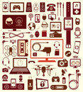 Set of devices icons and communication Stock Images