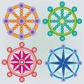 Set of Dharma Wheels - Buddhism Symbol - Colors