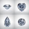 Set of diamonds d illustration on white background Royalty Free Stock Images