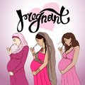 Set diferent pregnant woman in prepared for maternity.