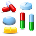 Set of differenet types of pills Royalty Free Stock Photo