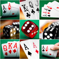 Set of different actions and scenes in casino with cards dice Stock Photo