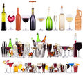 Set of different alcoholic drinks and cocktails beer martini soda champagne whiskey wine cola cocktail Royalty Free Stock Image