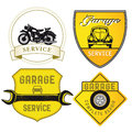 Set different auto repair services garages Stock Image