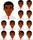 Set of different avatar african american people male in colorful flat style. Royalty Free Stock Photo