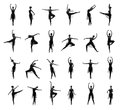 Set of different ballet poses black and white traces a collection silhouettes isolated on Stock Photo