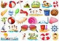Set of different beach objects
