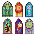Set of different beautiful colorful stained glass windows in Gothic style. Middle age architecture in Western Europe. Royalty Free Stock Photo
