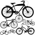 Set of different bicycles bikes types in black Stock Photo