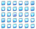 Set of different blue striped web icons on a white background Stock Images