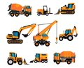 Set of different building equipment on white background. Concrete mixer, wheel loaders, excavator, bulldozer, front loader,