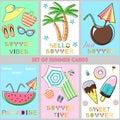 Set of summer cards - vector illustration, eps