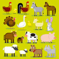 Set of different cartoon farm animals isolated vector Stock Photo