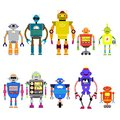 Set Of different cartoon robots characters ,spaceman cyborg icons line style isolated on white background.