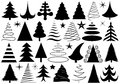 Set of different christmas trees isolated on white Stock Image
