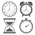 Set of different clock icon. Vector illustration