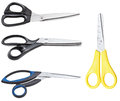 set of different closed scissors isolated on white Royalty Free Stock Photo