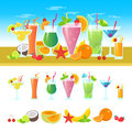Set of different cocktails on a table with fruits. Summer cocktails vector colorful banner. Alcoholic and non-alcoholic Royalty Free Stock Photo