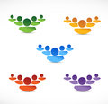 Set of different color people teams illustration design over white Royalty Free Stock Photos