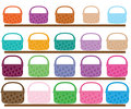 Set of different color and size baskets illustration