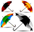 Set of different colored umbrellas