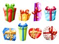 Set of different colorful gift boxes with bows vector illustration isolated on white background website page and mobile app design