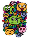 Set different colorful smiles head on abstract frame