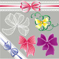 Set of different colors lace bows for holidays d design art Royalty Free Stock Images