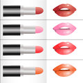 Set of different colors of lipstick vector Stock Photography