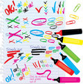 Set of different colors markers and marks Royalty Free Stock Image