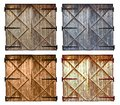 Set of different colors old barn wooden door isolated on white Royalty Free Stock Photo